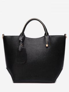 Faux Leather Stitching Rivet Letter Handbag - Black