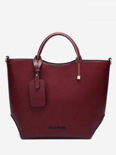 Faux Leather Stitching Rivet Letter Handbag - Wine Red