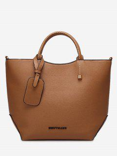 Faux Leather Stitching Rivet Letter Handbag - Light Brown