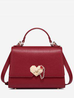 Metal Embellished Heart Handbag - Red