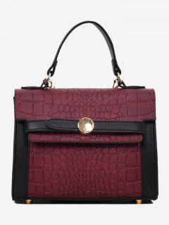 Embossing Faux Leather Handbag - Purple