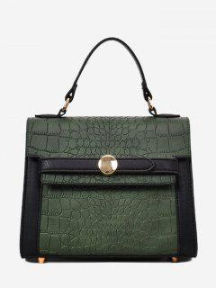 Embossing Faux Leather Handbag - Green
