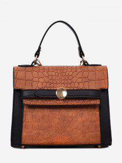 Embossing Faux Leather Handbag - Deep Brown