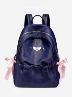 Bee Bow Ribbon Metal Embellished Backpack - Blue