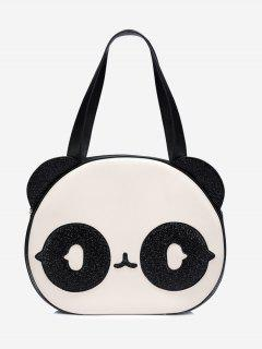 Color Block Panda Pattern Funny Shoulder Bag - White