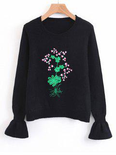 Flouncy Sleeve Floral Embroidered Sweater - Black