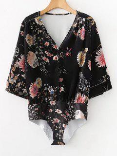 Half Buttoned Velvet Floral Bodysuit - Black M