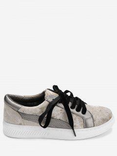 Color Block Stitching Skate Shoes - Khaki 40