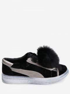 Color Block Skate Shoes With Pompom - Black 40