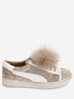 Color Block Skate Shoes With Pompom - Apricot 40