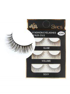 3 Pairs Natural Soft Long Extension Faux Eyelashes - Black