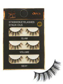 3 Paisr Natural Long Extension Fake Eyelashes - Black