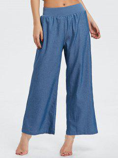 Elastic Waist Denim Wide Leg Pants - Blue 2xl