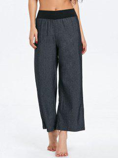 Elastic Waist Denim Wide Leg Pants - Black S