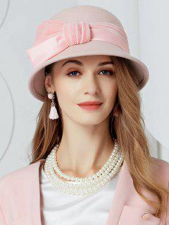 Ribbon Knot Decorated Formal Pillbox Hat - Pinkbeige