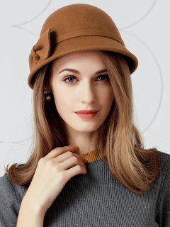 Vintage Bowknot Decoration Faux Wool Fedora Hat - Dark Camel