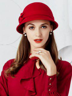 Simple Bow Decorated Faux Wool Pillbox Hat - Red