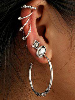 Vintage Circle Geometric Cartilage Earring Set - Silver