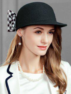 Checkered Pattern Bowknot Embellished Pillbox Hat - Black