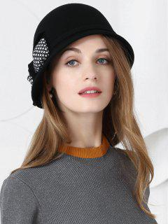 Bowknot Pattern Faux Wool Formal Ladies Hat - Black