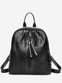 Zip Faux Leather Tassels Backpack - Black