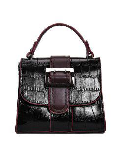 Belted Buckle Embossed Handbag - Black