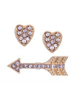 Rhinestone Heart Love Arrow Stud Earrings - Golden