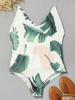 Leaves Print Cami Bodysuit - White M