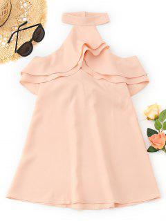 Cold Shoulder Ruffles Backless Mini Dress - Pinkbeige S