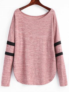 Camiseta Marled De Manga Larga A Rayas - Rosa Xl