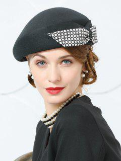 Bowknot Decorated Formal Pillbox Hat - Black