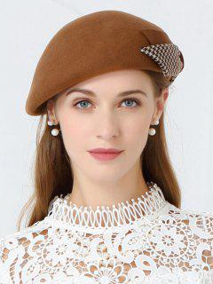 Bowknot Decorated Formal Pillbox Hat - Camel