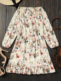 Off Shoulder Floral Print Ruffle Hem Dress - Floral S