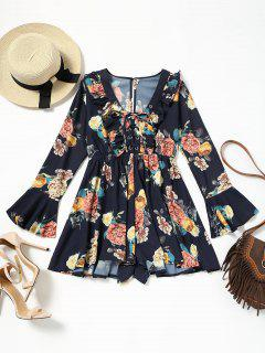 Lace Up Flare Sleeve Ruffles Floral Romper - Cerulean M