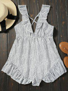 Plunging Neck Ruffles Backless Polka Dot Romper - White S