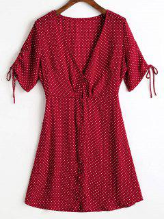 Button Up Chiffon Polka Dot Mini Dress - Wine Red S