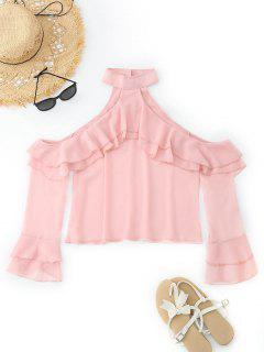Cold Shoulder Ruffles Tiered Sleeve Blouse - Pink L