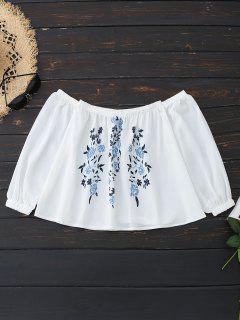 Schulterfrei Blumendruck Bluse - Weiß Xl