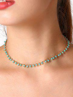 Faux Crystal Chain Beaded Necklace - Blue