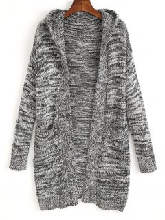 Hooded Open Front Heathered Cardigan - Gray