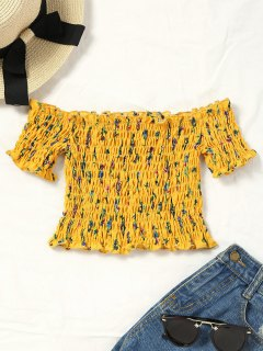 Smocked Tiny Floral Off Shoulder Top - Yellow L