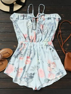 Floral Ruffles Cold Shoulder Romper - Light Blue M