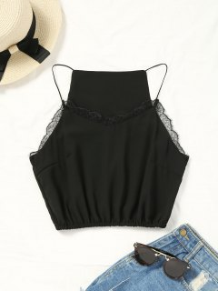 Cropped Lace Panel Tank Top - Black S