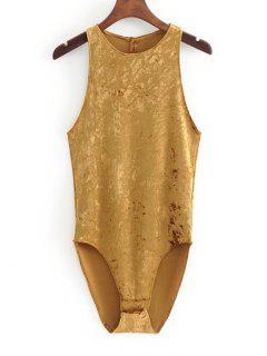 Racerback Crushed Velvet Bodysuit - Mustard M