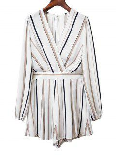Belted Snap Button Stripes Romper - White L