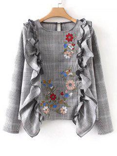Rüschen Plaid Floral Bestickte Bluse - Kariert S