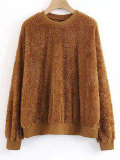 Shearling Textured Sweatshirt - Brown L