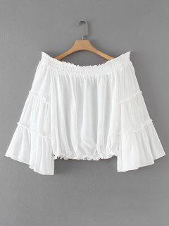 Rüschen Smocked Panel Schulterfreie Bluse - Weiß S