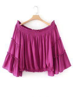 Ruffles Smocked Panel Off Shoulder Blouse - Purple Red L
