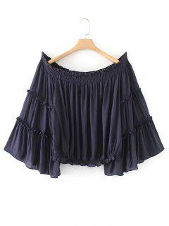 Ruffles Smocked Panel Off Shoulder Blouse - Purplish Blue M